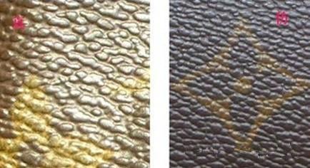 真包的纹比较深,如果小水泡的颗粒之间空隙比较分明