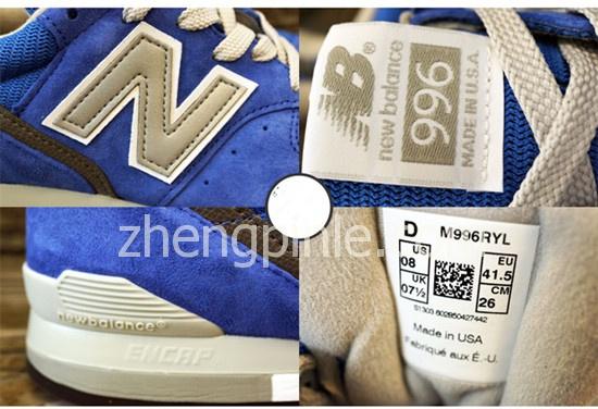 美版996 的鞋舌标签和鞋后跟的特征图