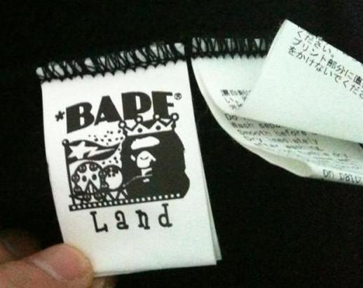 正品BAPE水洗标采用复杂的针织法