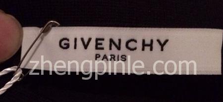 正品纪梵希Givenchy服装的白色领标辨别