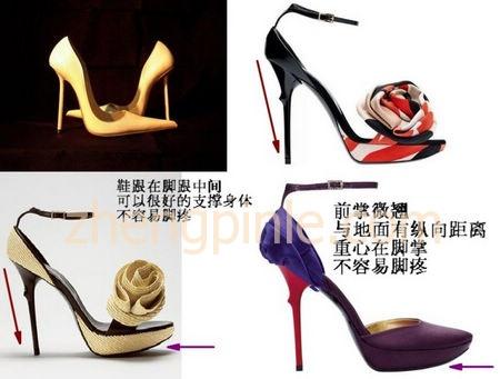 高跟鞋的鞋头最好是微微翘起的,有利于重心控制