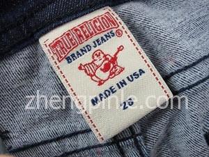 真实信仰牛仔裤的洗标