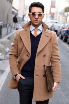 冬季男装呢大衣搭配