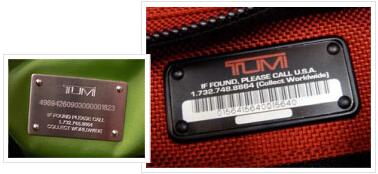 途明/塔米 Tumi 包袋上的铭牌有唯一的识别码