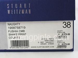 正品Stuart Weitzman的鞋盒标签