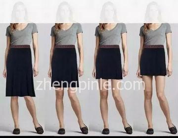 不同裙长的短裙对身高线条的影响对比图