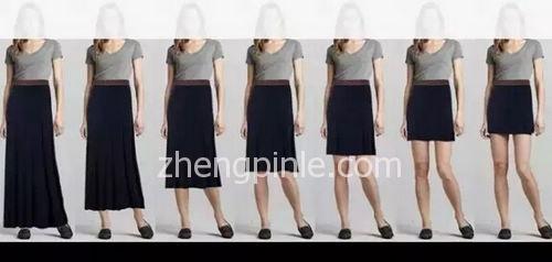 不同裙长的裙子对身高线条的影响对比图一