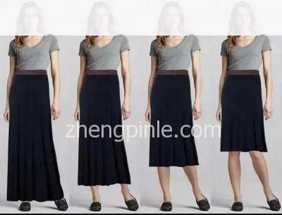 不同裙长的长裙对身高线条的影响对比图