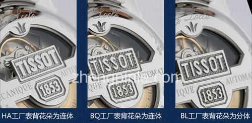 TISSOT天梭腕表的不同生产工厂表背图案差异
