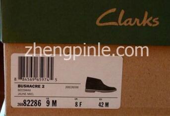 国产clarks沙漠靴鞋盒侧面标签