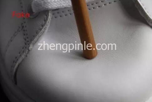 阿迪达斯Stan Smith小白鞋真假对比之皮料2
