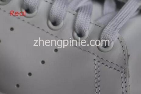 阿迪达斯Stan Smith小白鞋真假对比之鞋带孔1