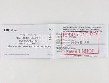 CASIO卡西欧手表质保卡细节