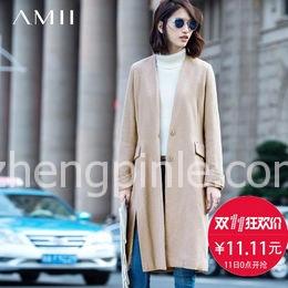 Amii[极简主义]冬新假西装领毛呢外套