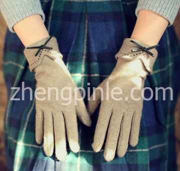 触屏蝴蝶结针织手套