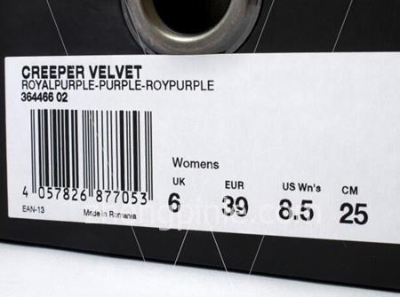 正品PUMA蕾哈娜松糕鞋的鞋盒标签